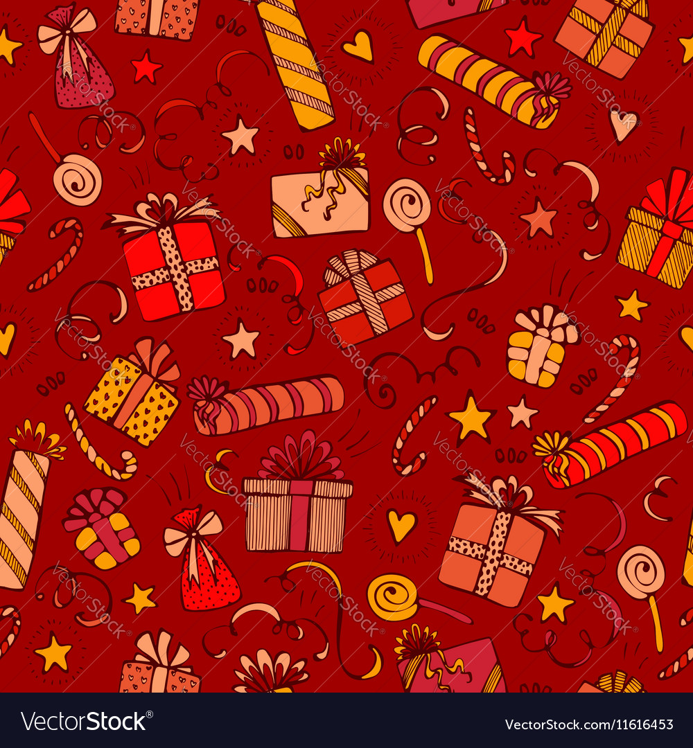 merry christmas and happy birthday seamless vector image - Merry Christmas And Happy Birthday