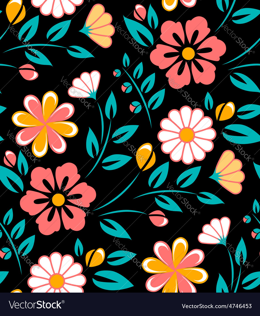 Seamless Spring Flower Pattern On Black Background