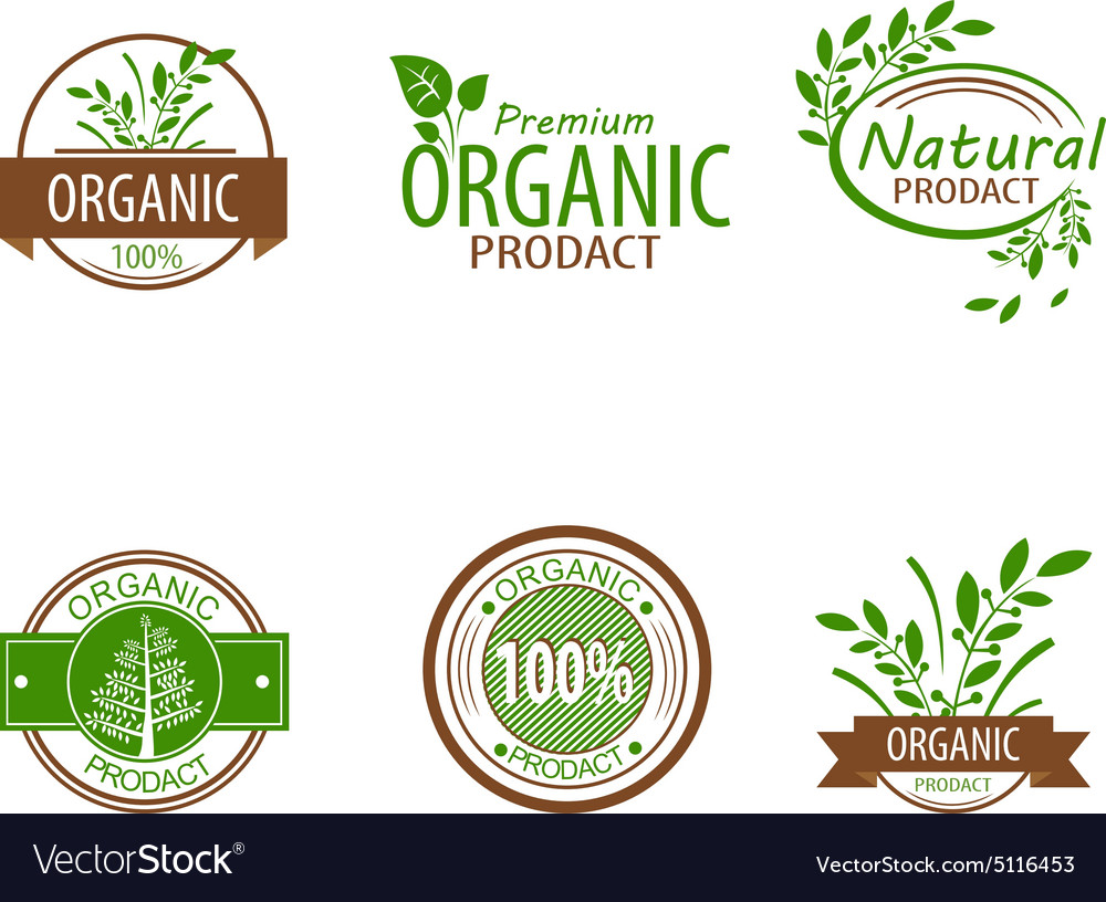 Set of Fresh Organic Labels and Elements vector image