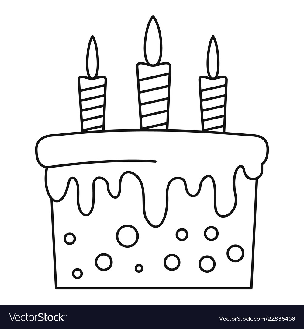 Terrific Birthday Cake Icon Outline Style Royalty Free Vector Image Birthday Cards Printable Trancafe Filternl