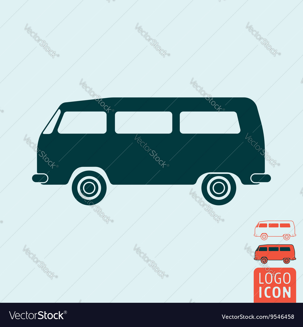 Camper bus icon isolated