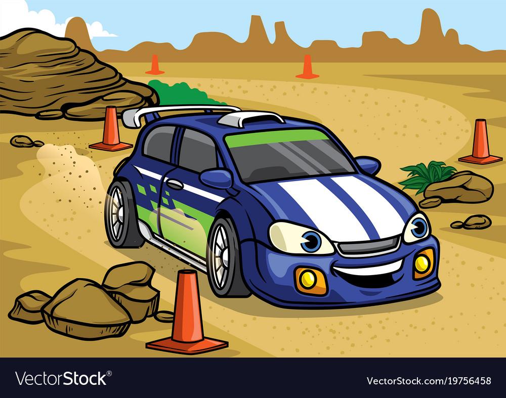 Cartoon rally car drive in the desert