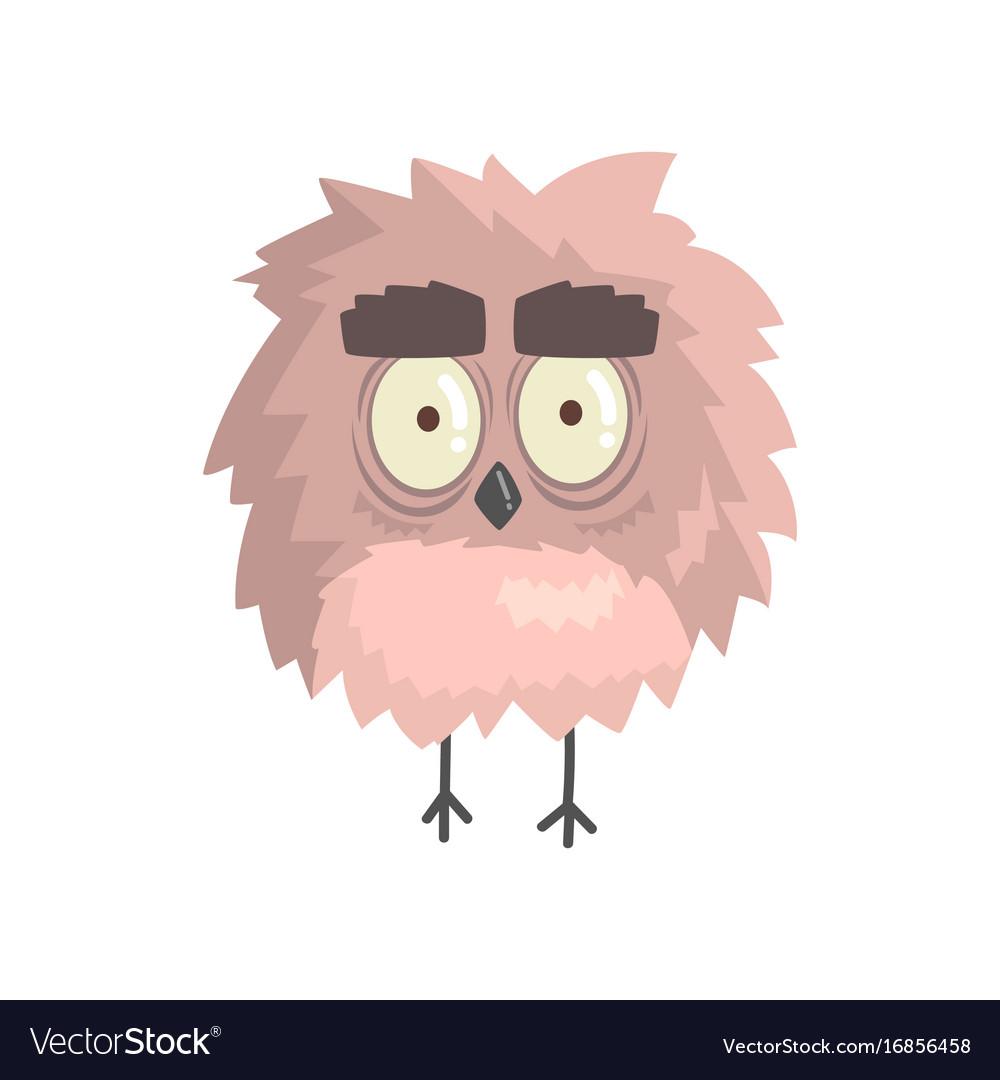 Cute little funny fluffy owlet bird standing