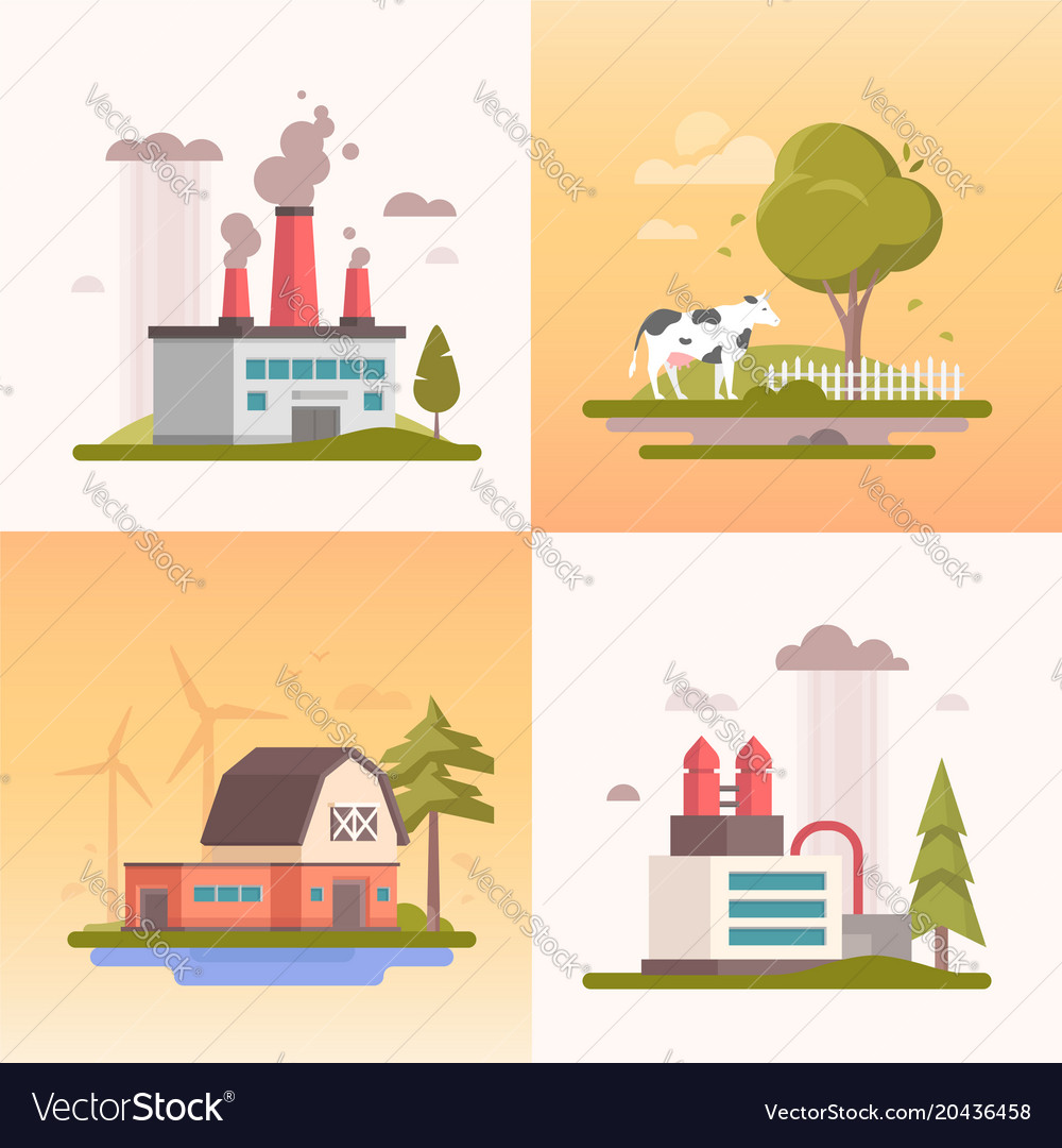 Ecology - set of modern flat design style vector image