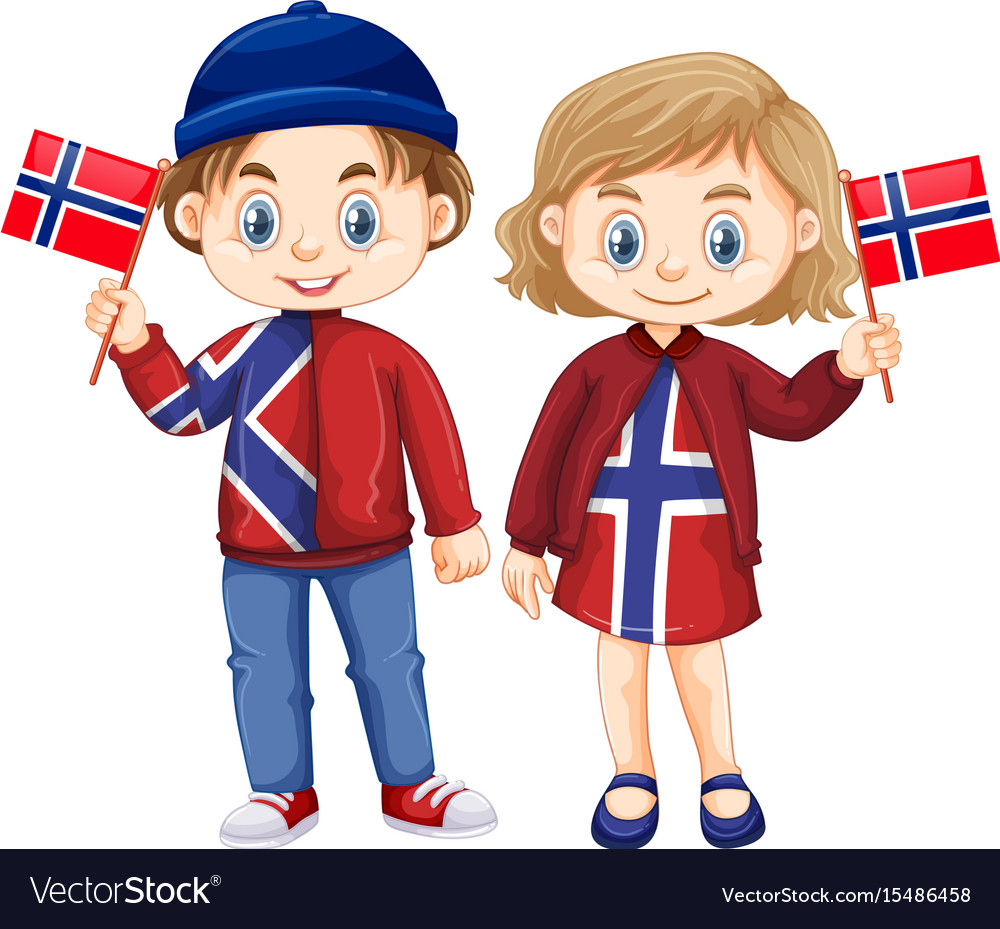 Happy boy and girl holding flag of norway