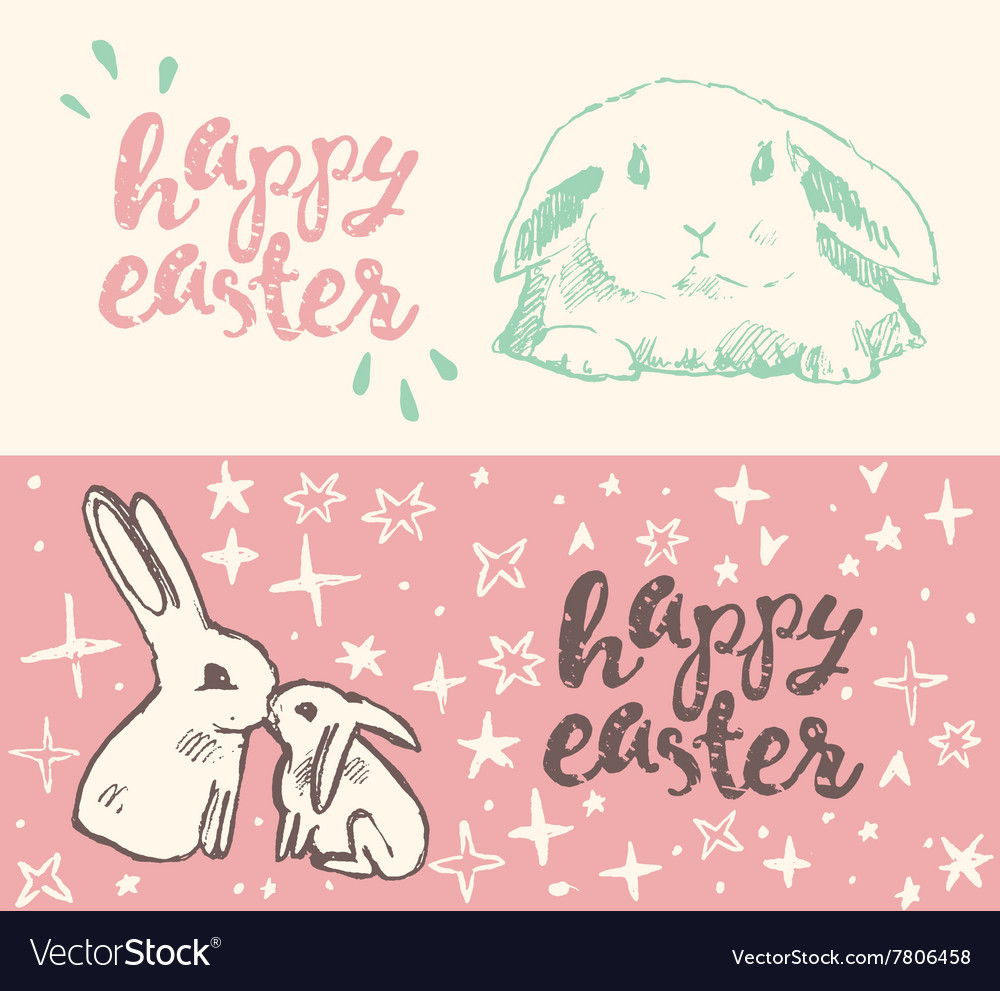Happy Easter greeting card cute bunny