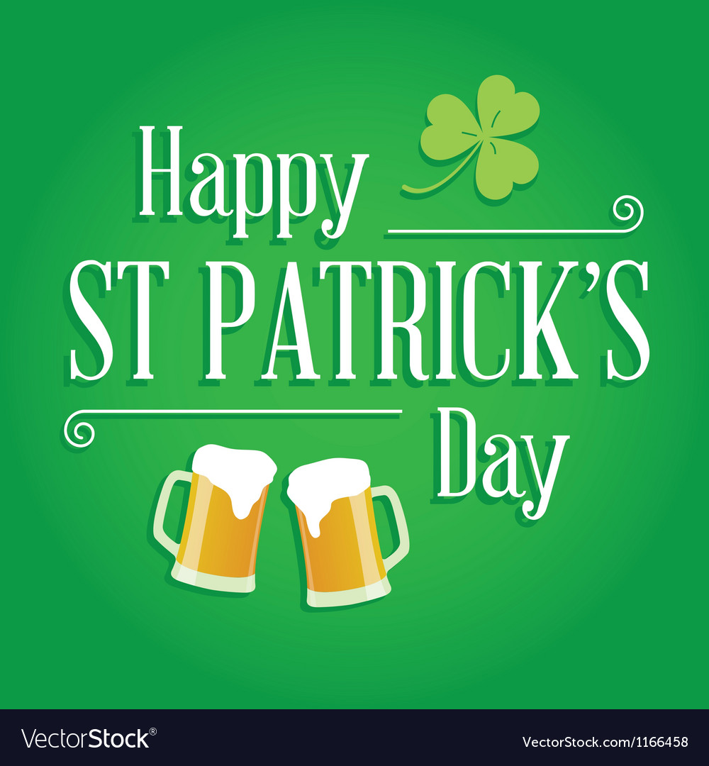 Happy St Patricks day card design elements vector image