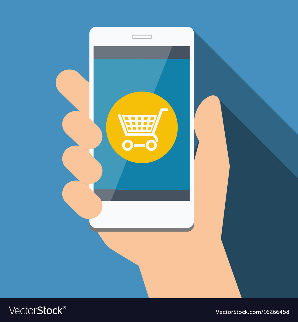 Mobile phone with online shopping flat design