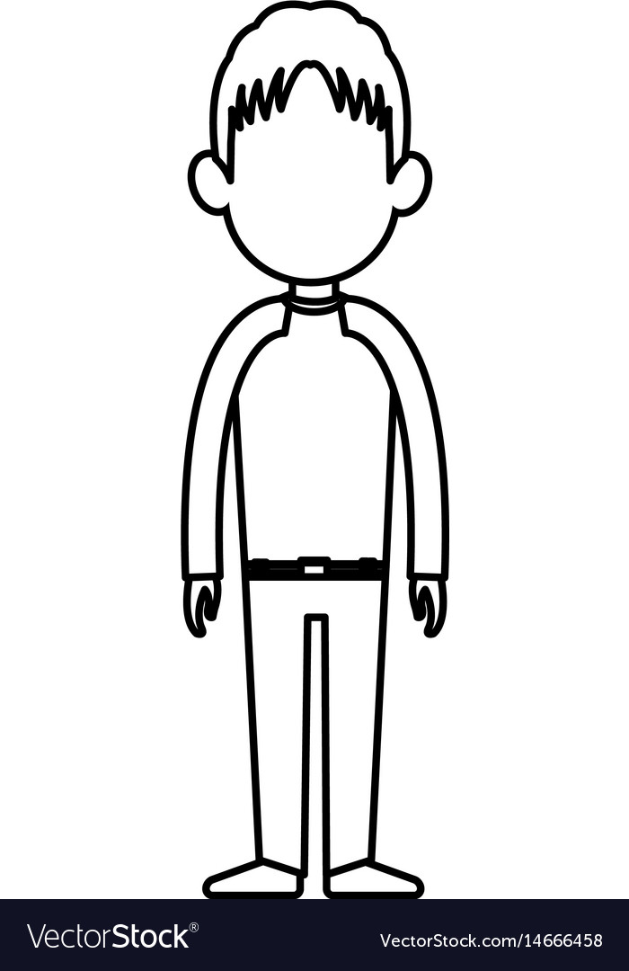Outline man person standing avatar image