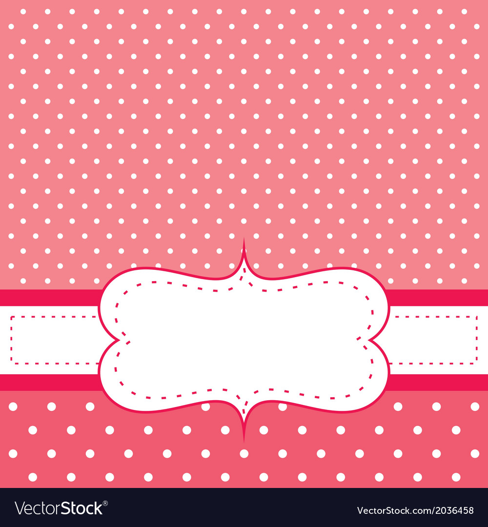 Pink invitation card with white polka dots