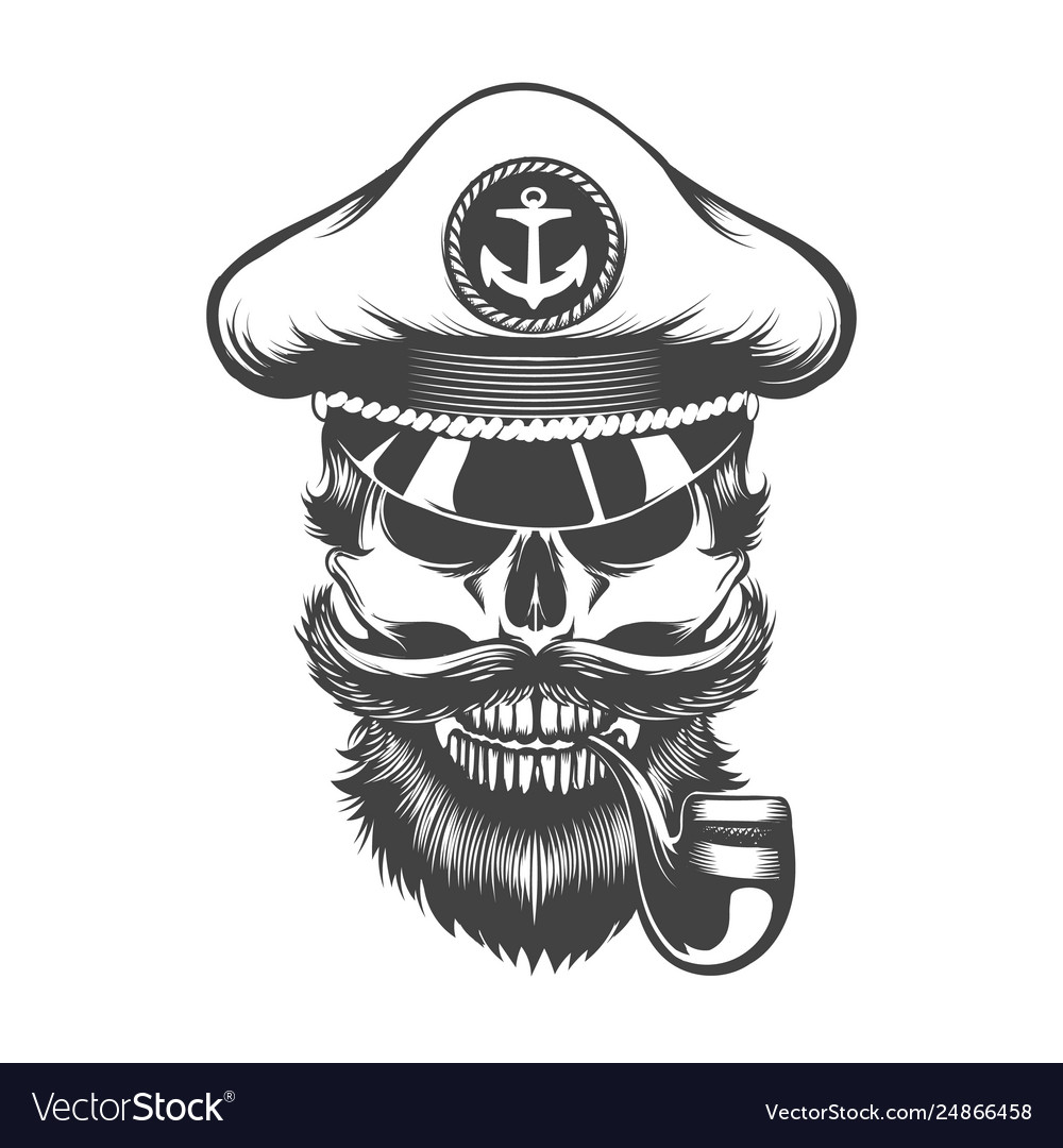 Skull in captain hat with smoking pipe