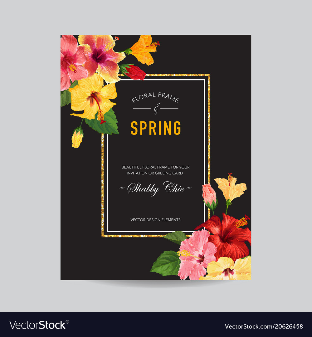 Spring and summer greeting card with frame floral
