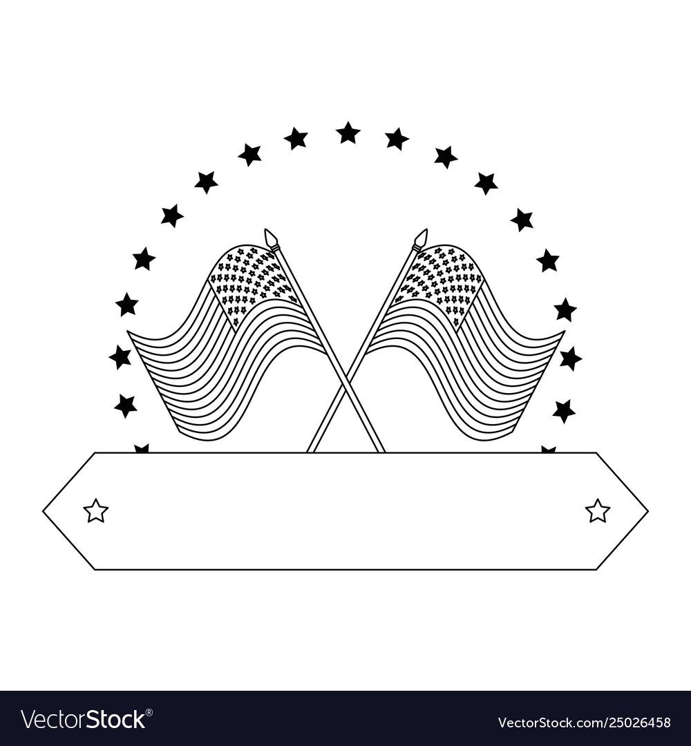 United states america flags crossed emblem