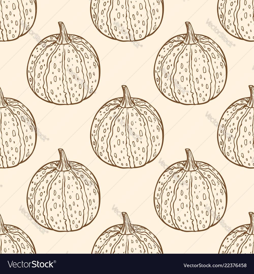 Vintage seamless pattern with pumpkins