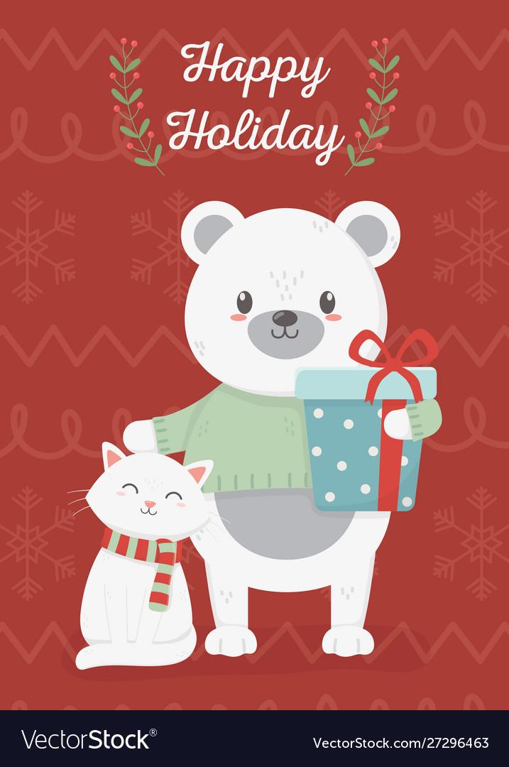 Bear and cat celebration happy christmas card