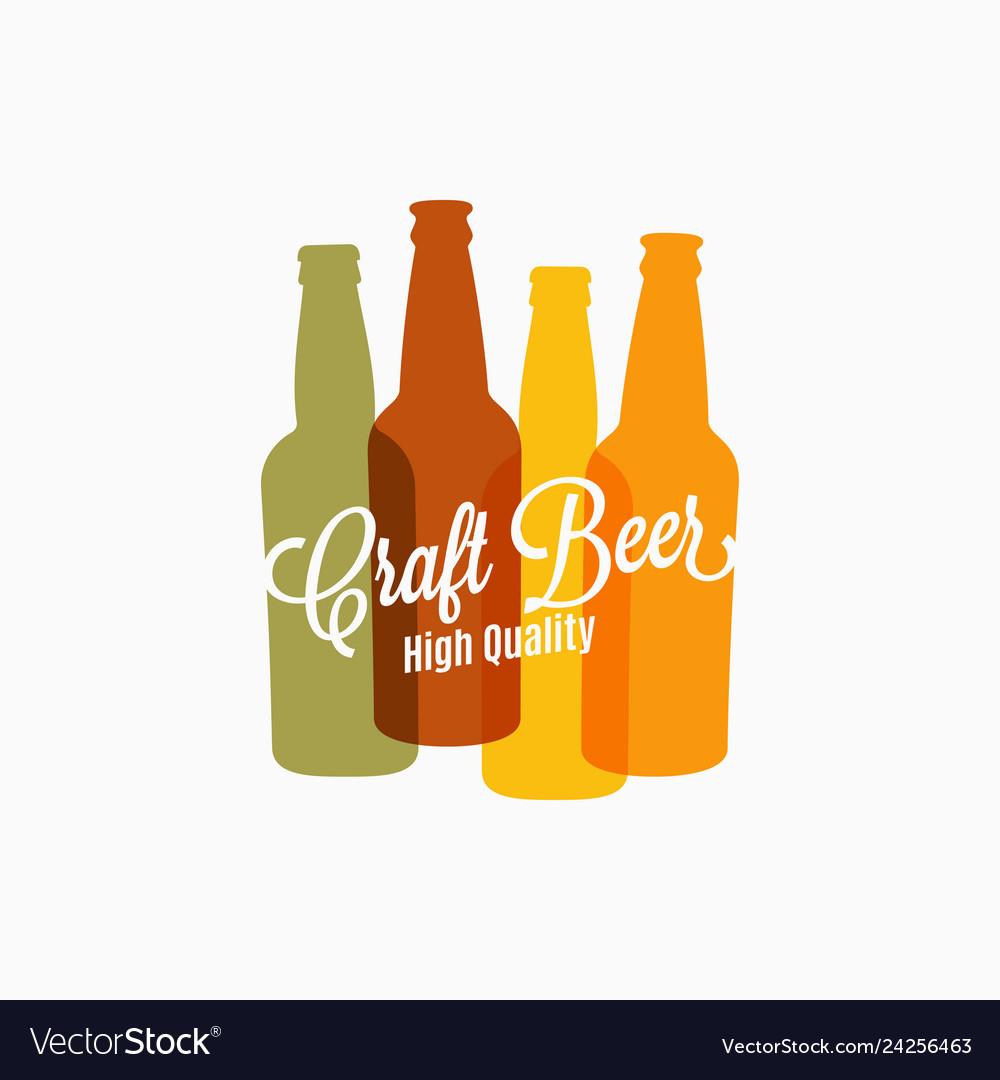 Beer bottle logo beer color banner on white