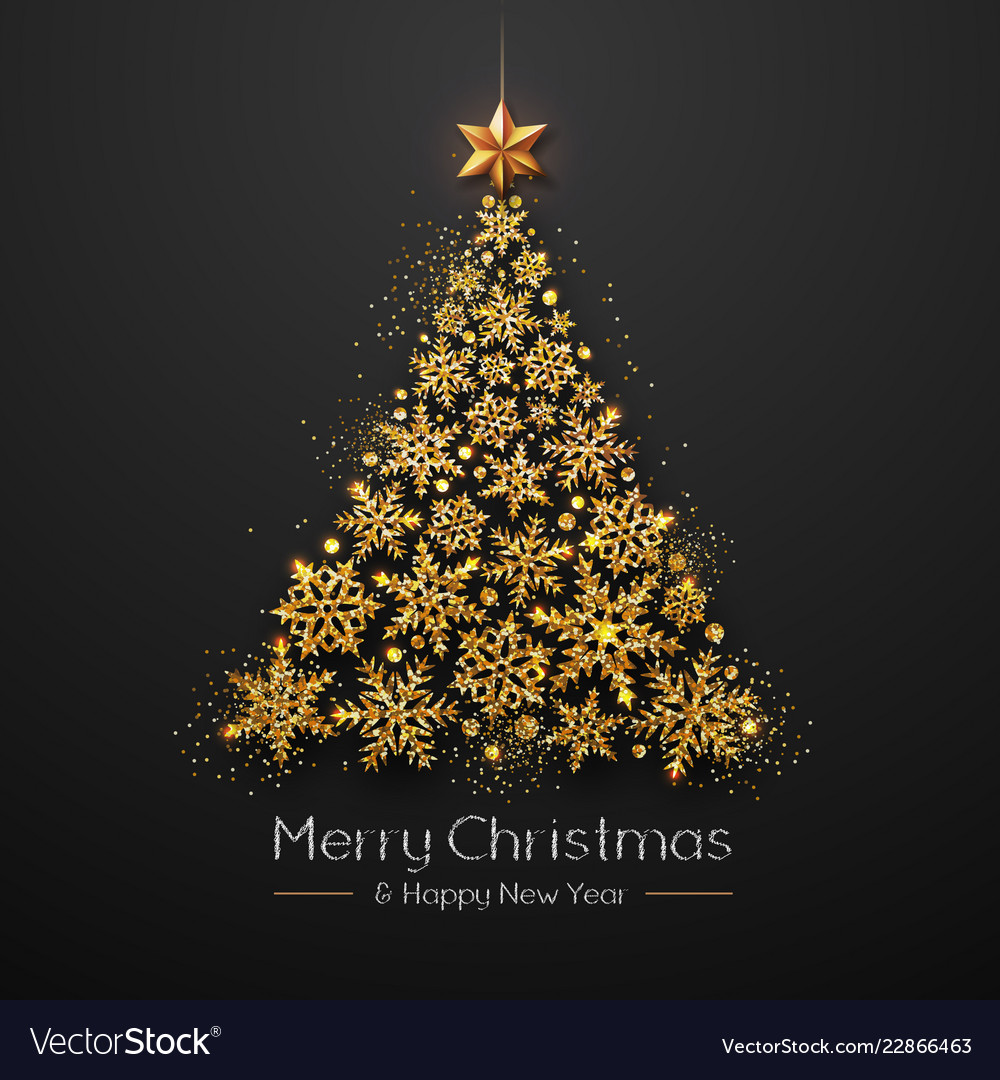 Christmas Poster With Golden Christmas Tree