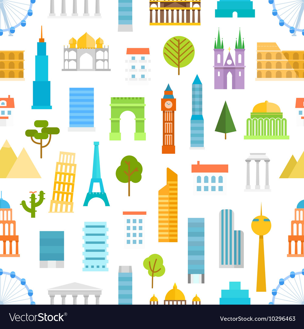 Different world famouse sights and city buildings vector image