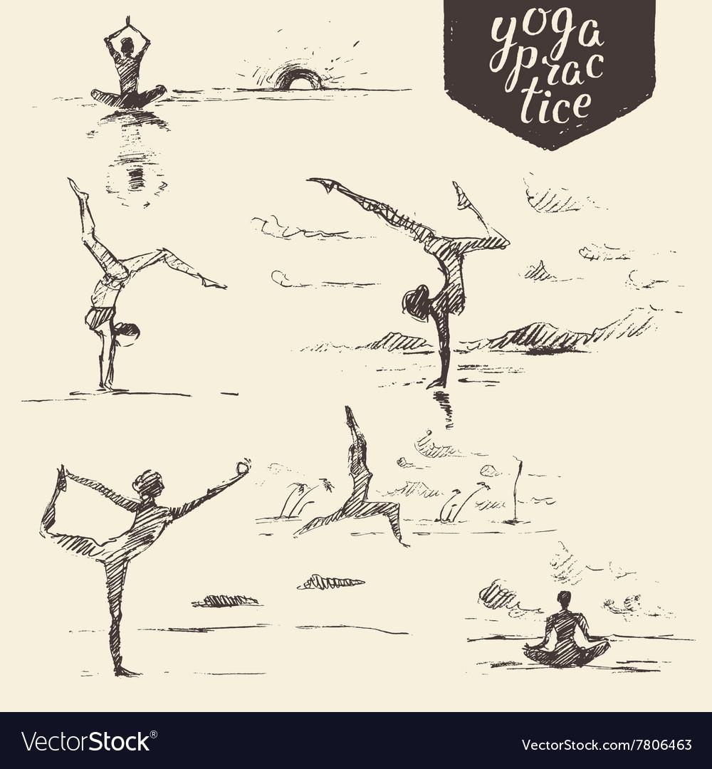 Draw Woman Yoga Healthy Lifestyle Sketch Vector Image