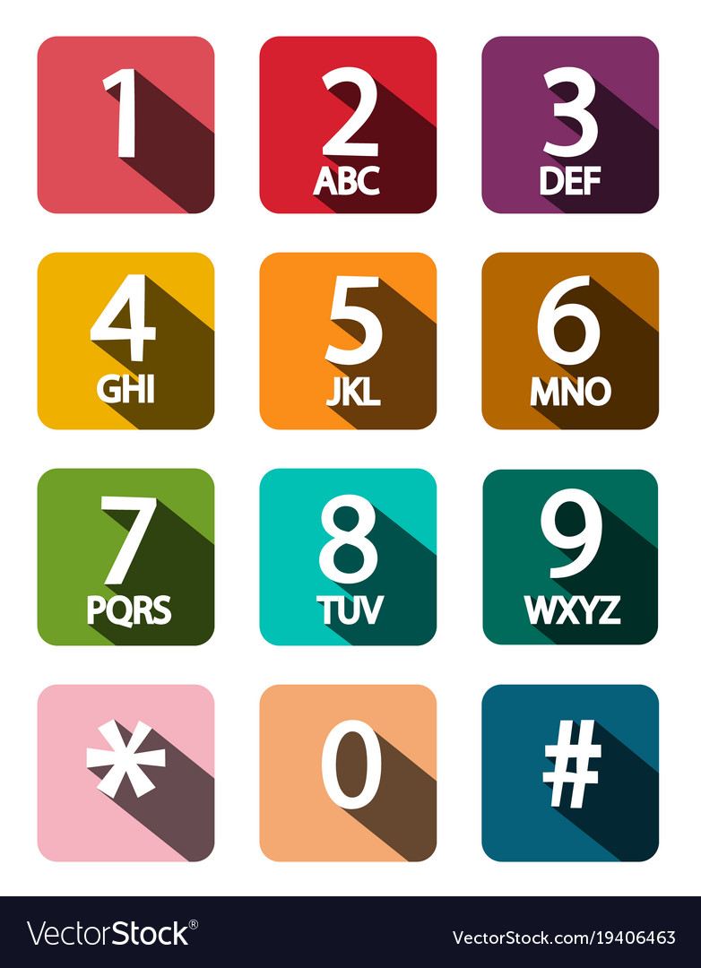 Flat design phone dial numbers set