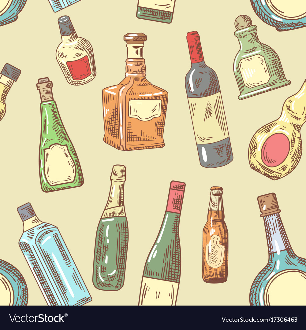 Hand drawn bottles seamless pattern wine