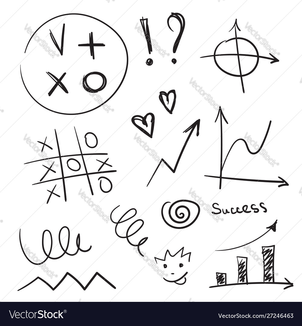 Hand drawn business design elements set vector