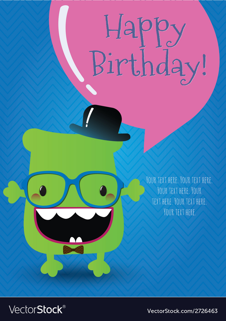 Hipster monster birthday card