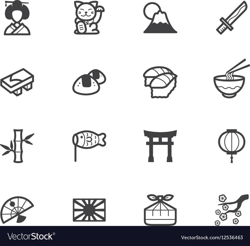 Japan element black icon set on white background vector image