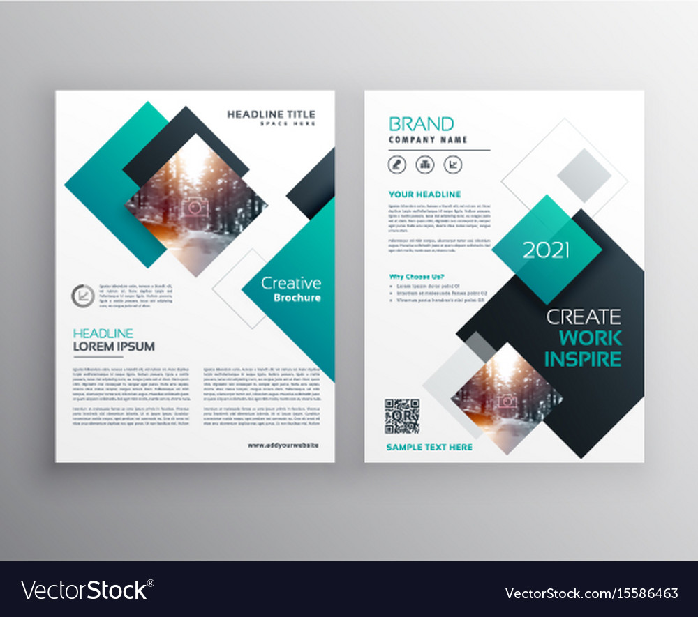 modern blue brochure cover design annual report vector image