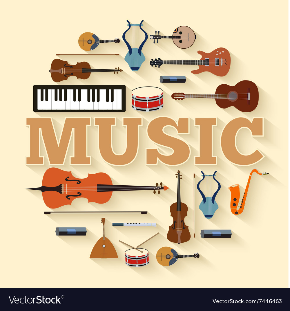 Music instruments circle infographics template