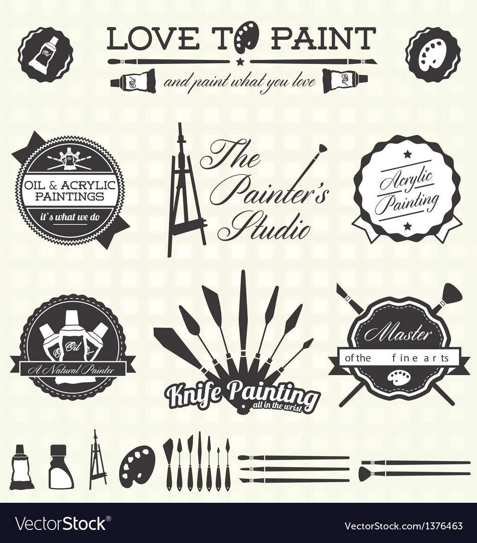 Retro Artist and Painter Labels and Icons
