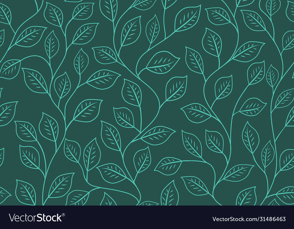 Seamless linear pattern floral ornament of