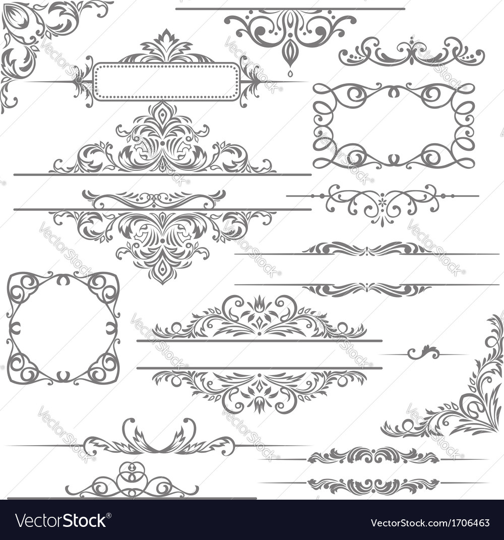 Set calligraphic design elements and page vector image
