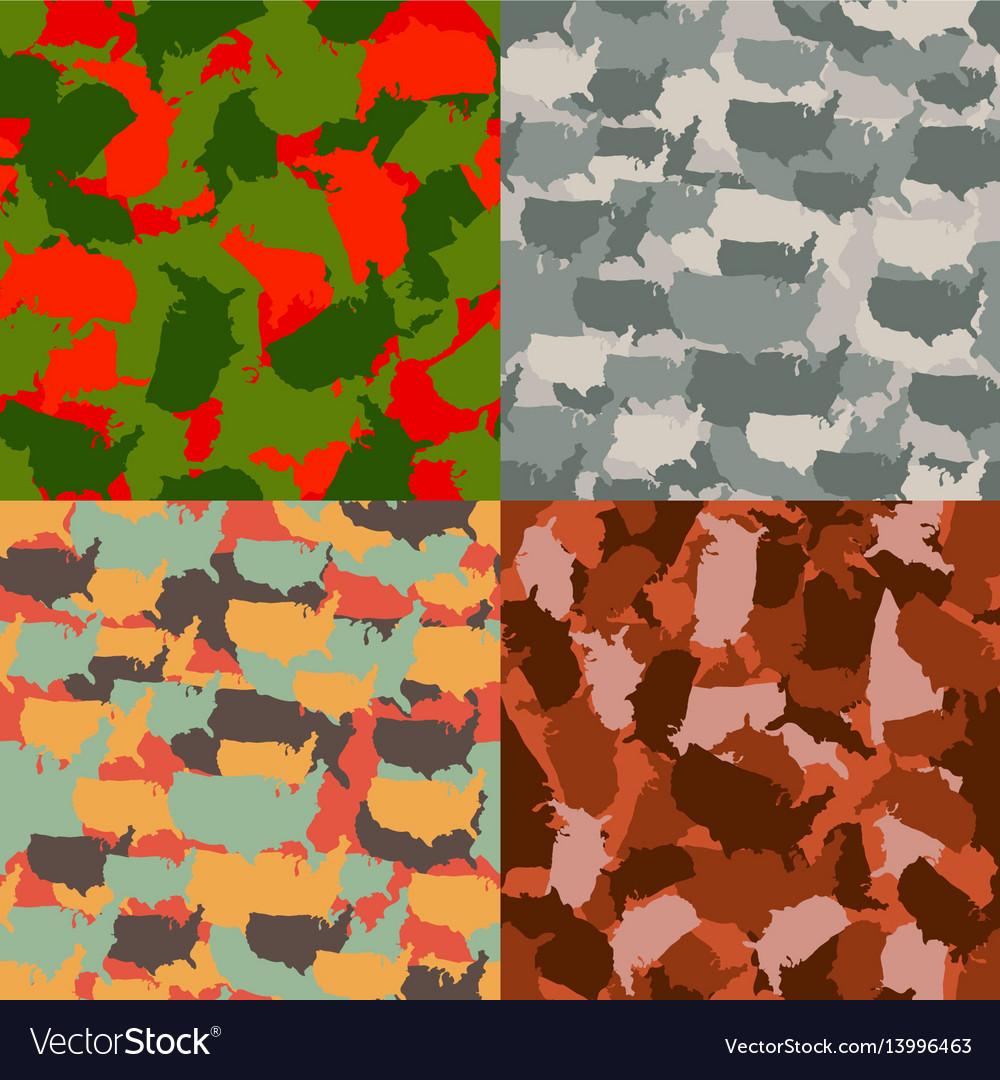 Set of usa shape camo seamless pattern colorful vector image