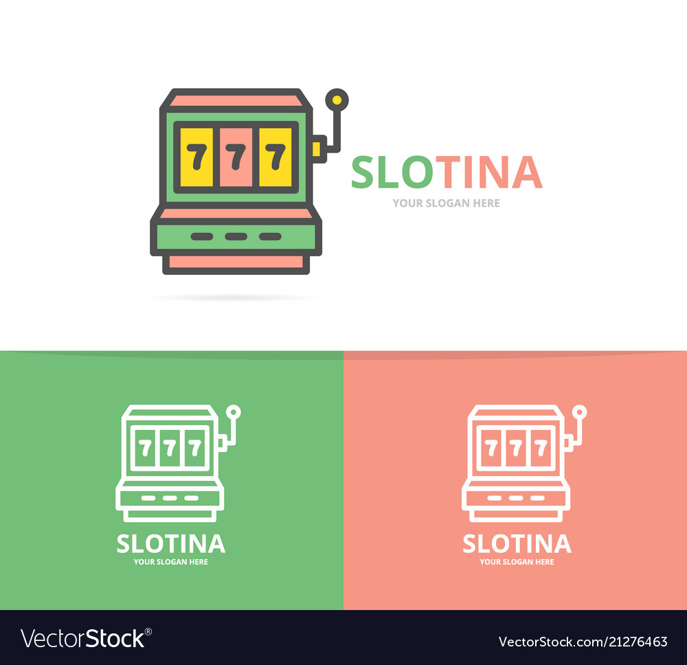 Simple jackpot slot machine logo design template