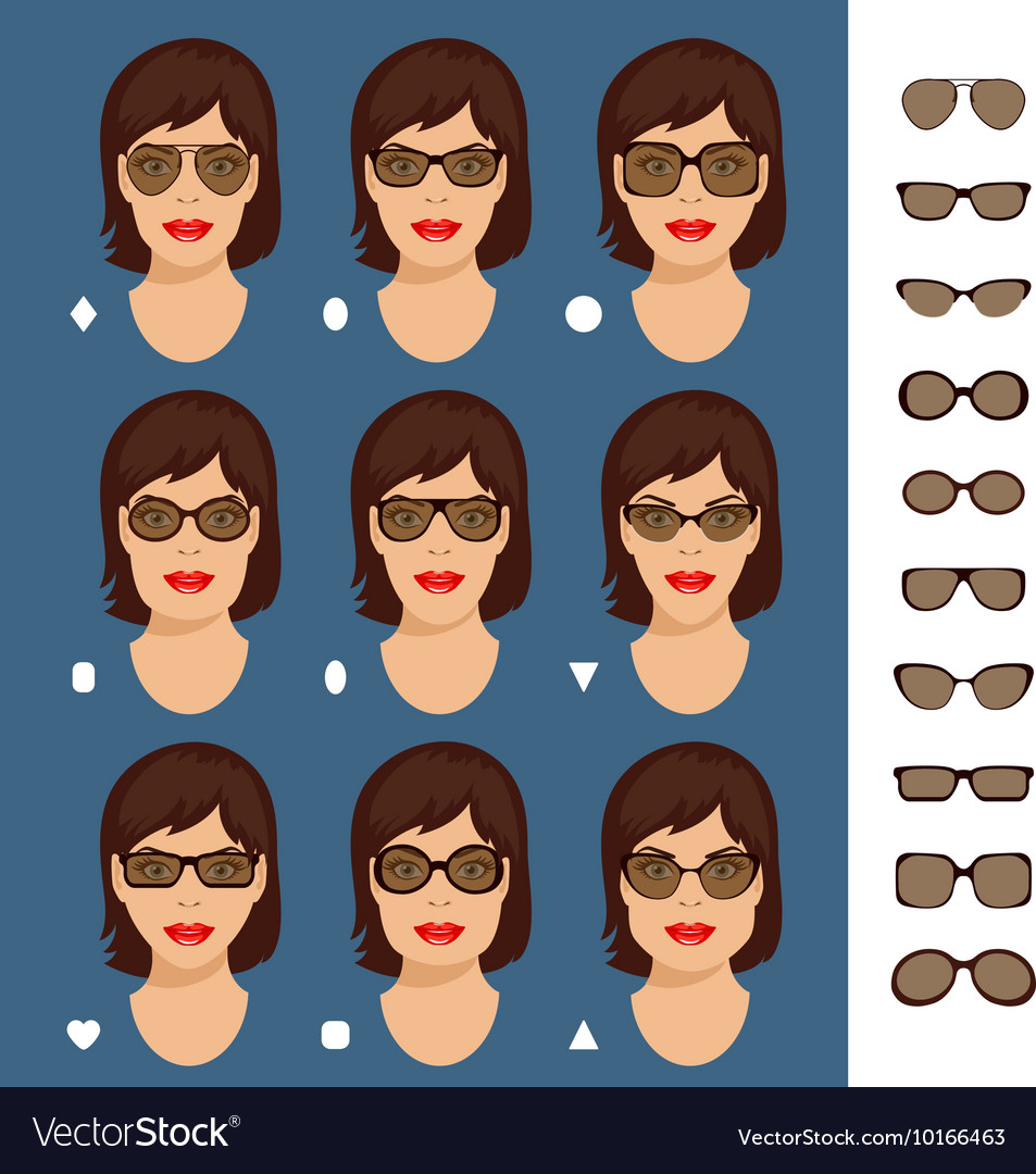 a3b322cab90 Sunglasses shapes 7 Royalty Free Vector Image - VectorStock