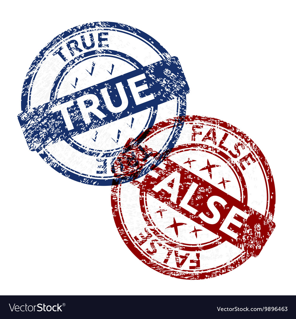 True blue and false red grunge round vintage vector image