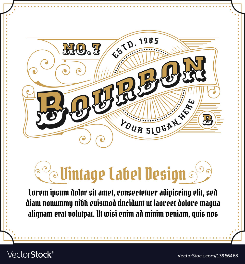 Vintage frame logo design for label vector image