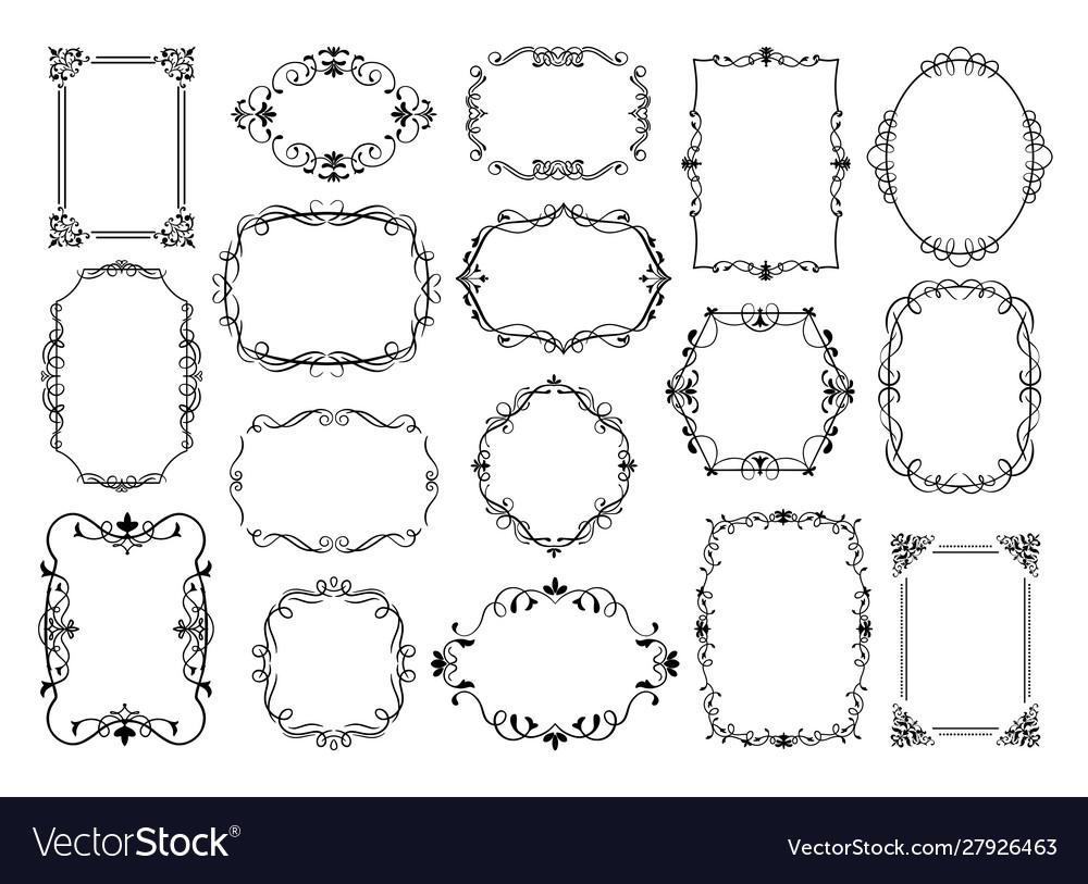 Vintage frames antique ornamental wedding borders