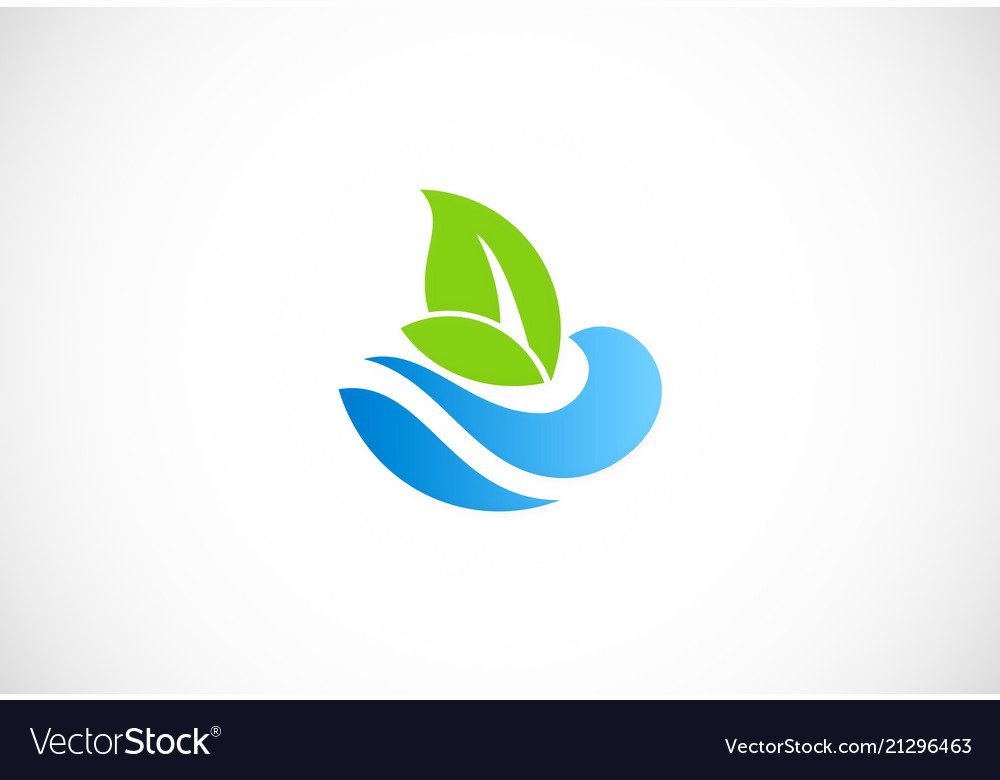 Water ecology green leaf nature logo