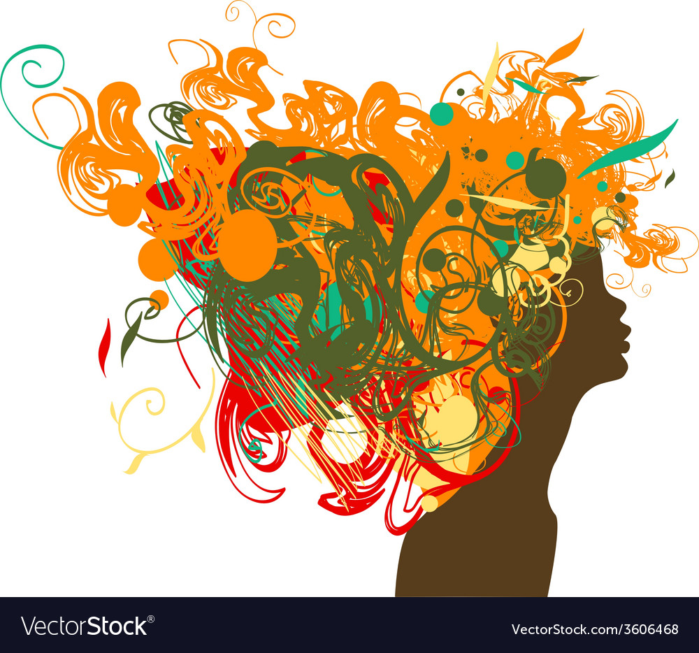 Beauty retro girl silhouette with multicolor hair