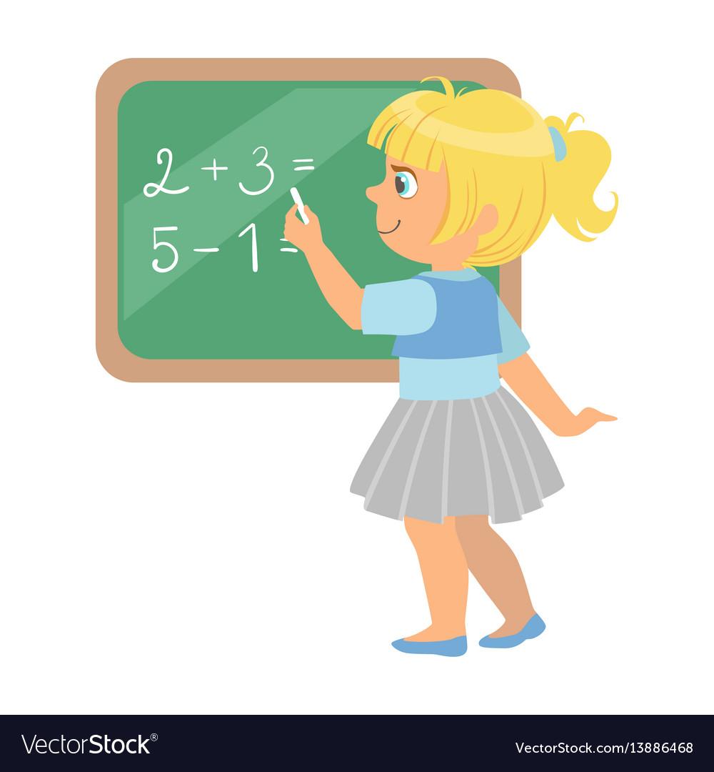 Cute little schoolgirl standing near the