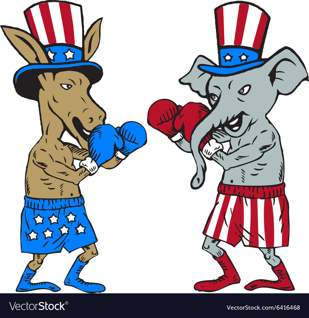Democrat Donkey Boxer And Republican Elephant Vector Image As for the democratic donkey, it is thought this was first used during a presidential campaign in 1828, after the candidate andrew jackson used it on his. vectorstock