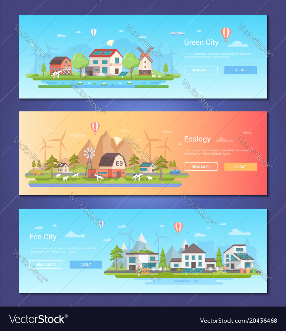 Eco city - set of modern flat design style