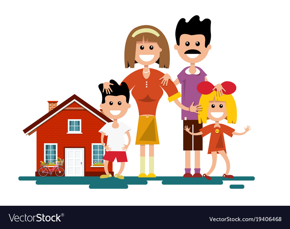 Family with house isolated