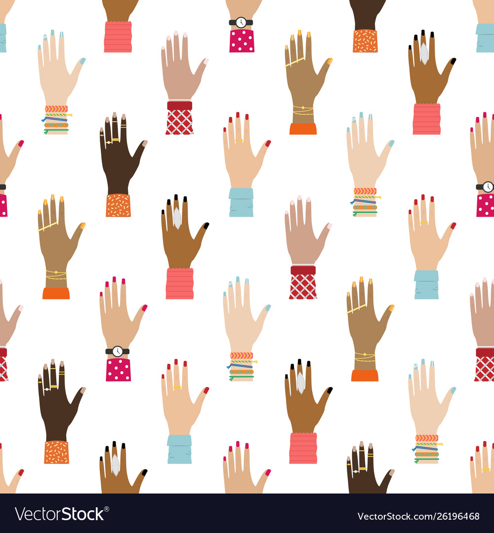 Flat seamless pattern with girl hands feminist