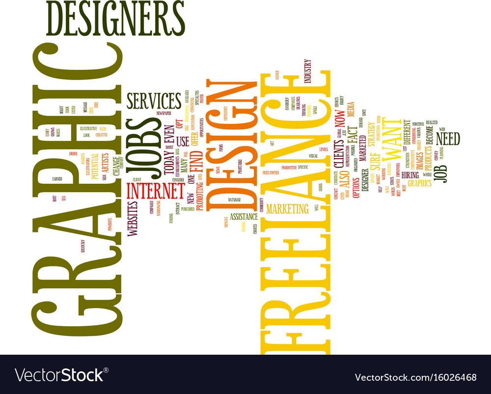 Freelance graphic design jobs text background Vector Image