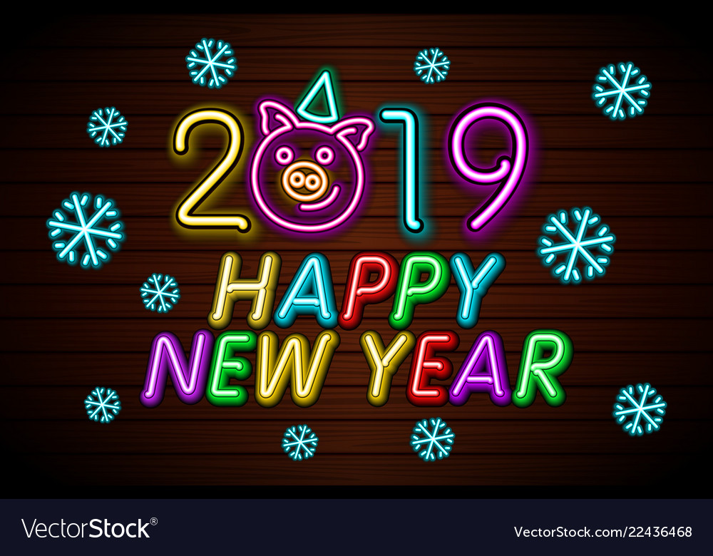 Happy New Year 2019 Design Template Pig Greeting Vector Image