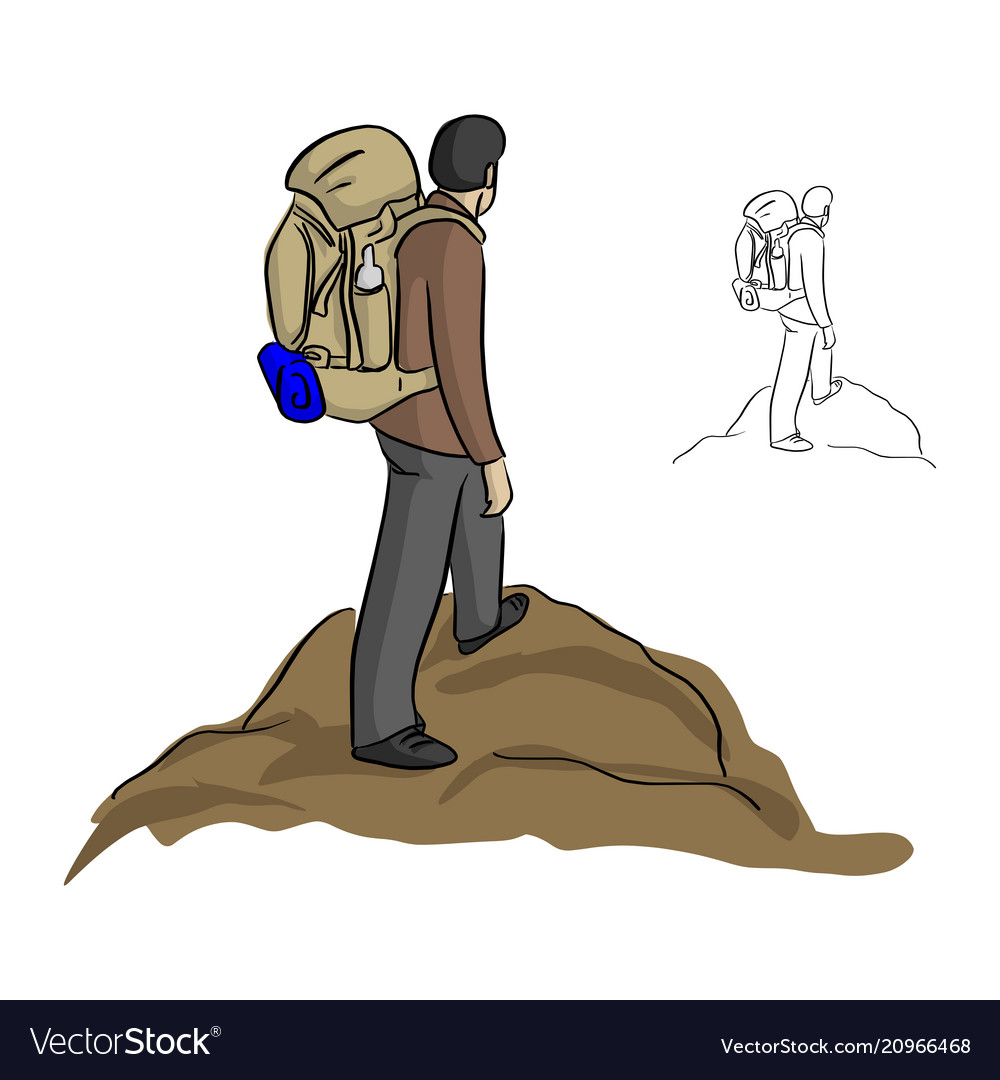 Man hiking with backpack standing on the top of