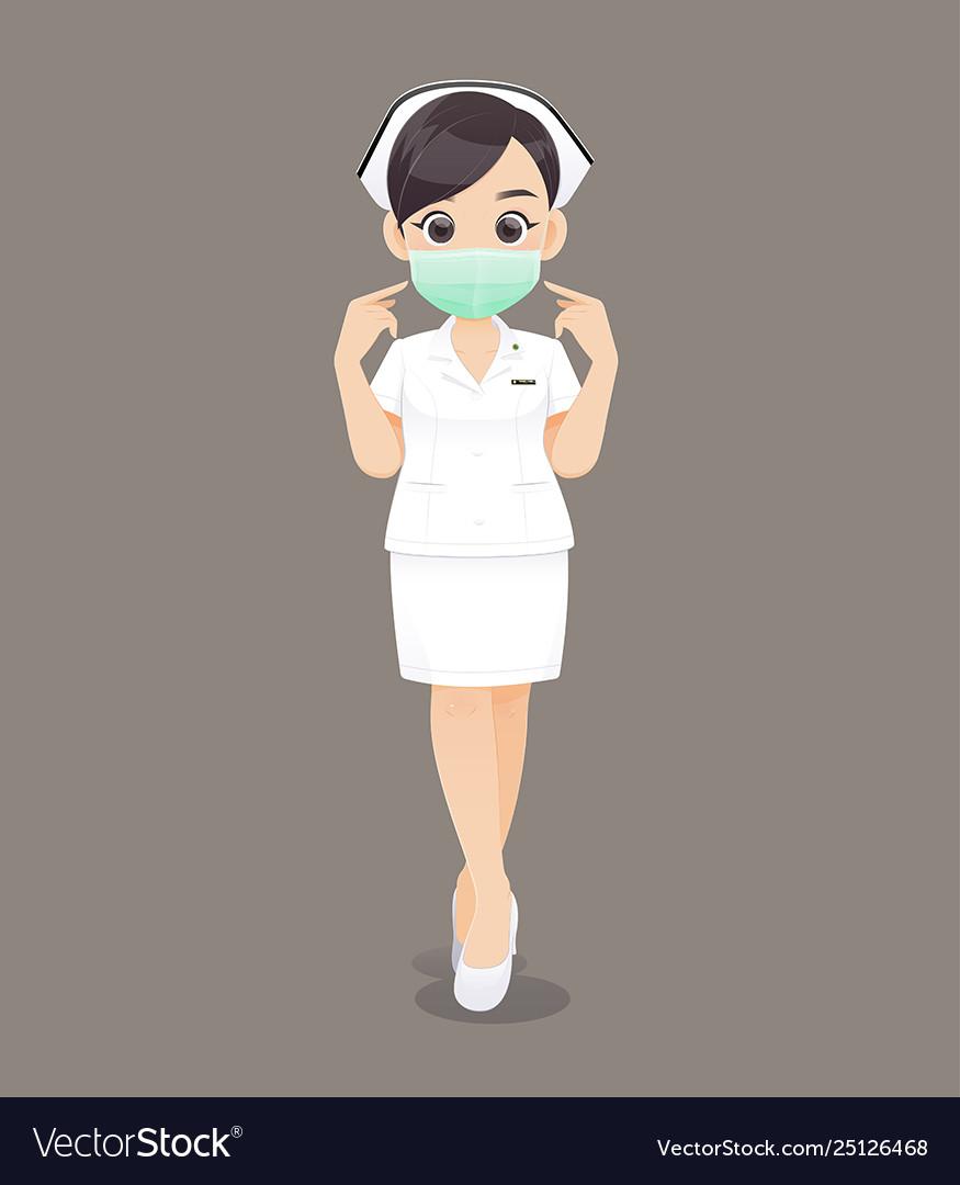 Nursing wears a protective mask